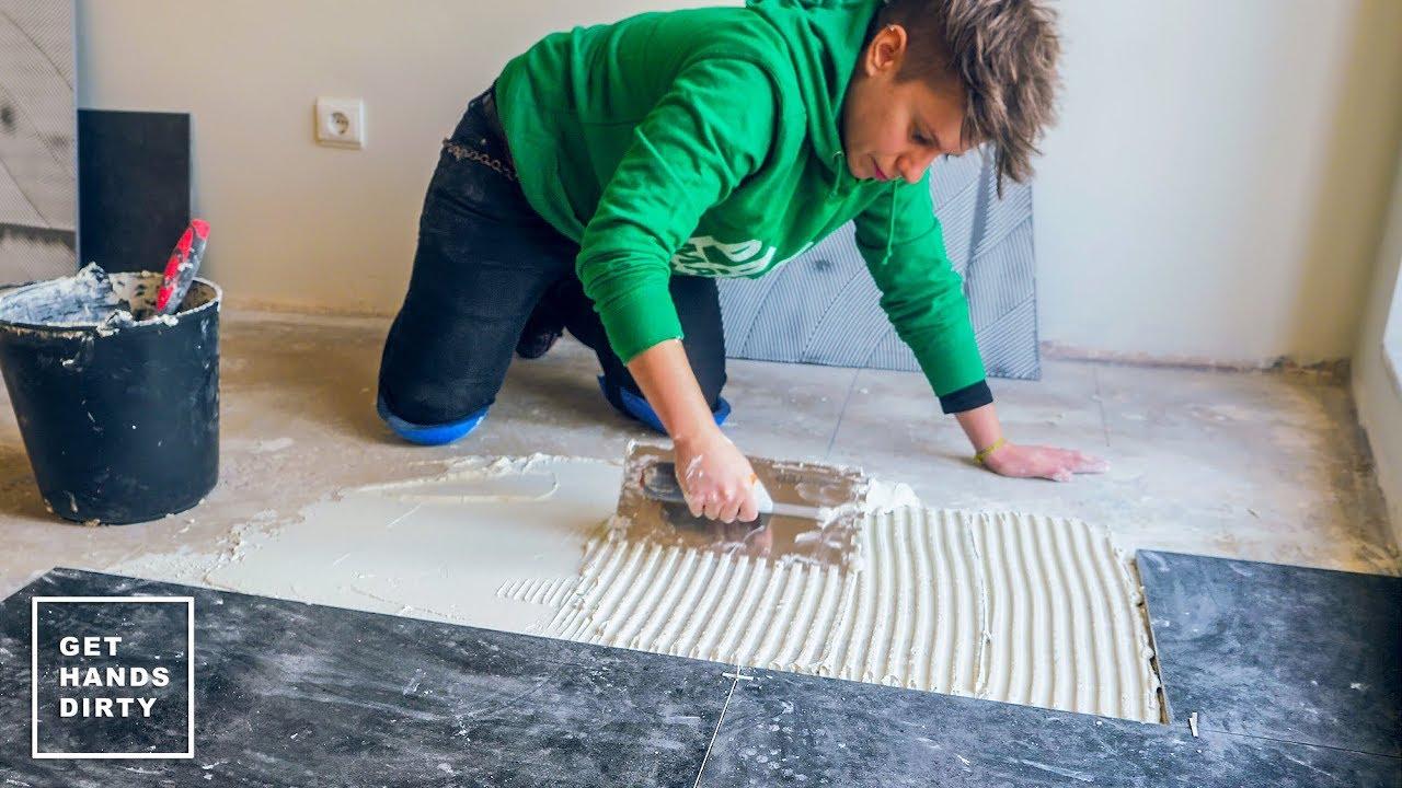 Ceramic Tile Floor Installation Tiny