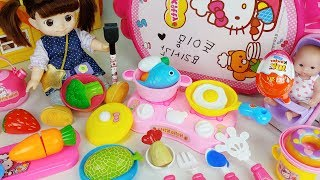 Baby doll food Kitchen bag and cooking play story music - ToyMong TV 토이몽