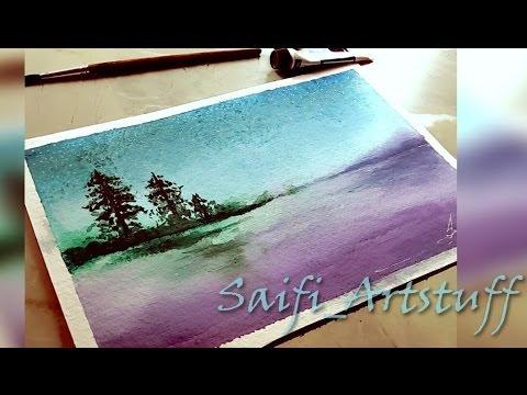 Watercolor Landscape of Island and ocean By Saifi Artstuff
