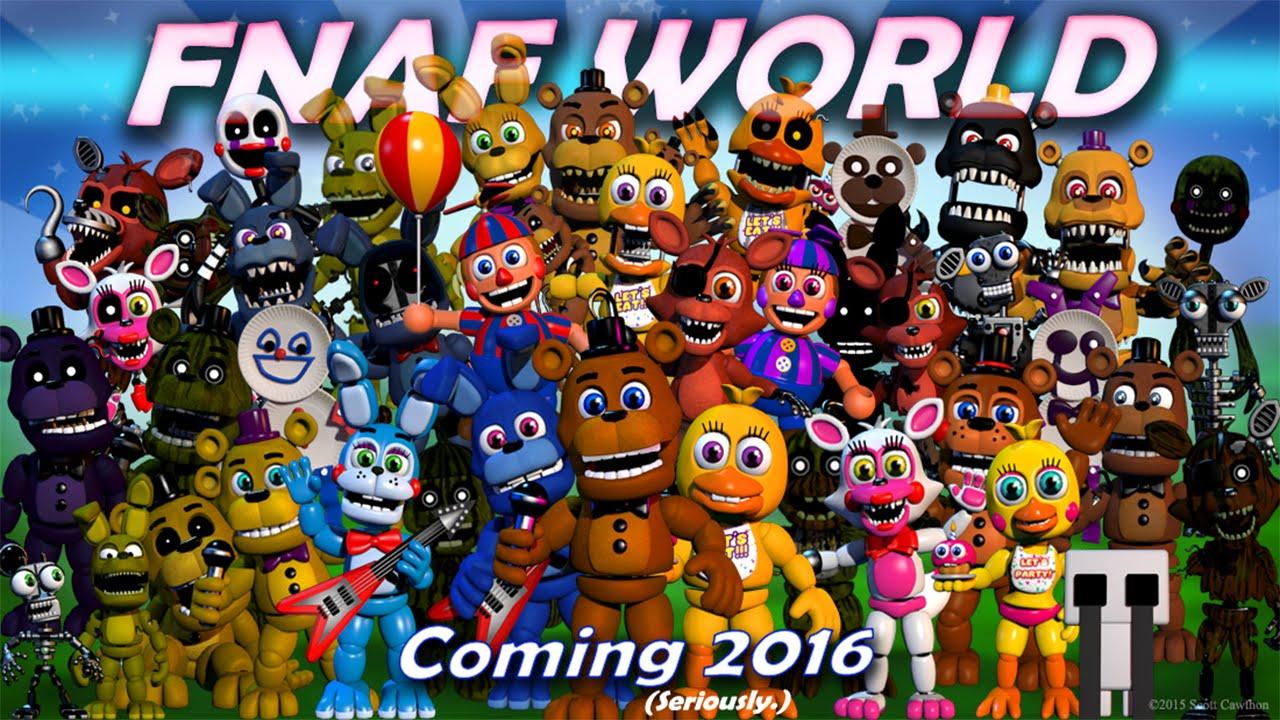 FNAF WORLD ALL ANIMATRONICS/TODOS LOS ANIMATRÓNICOS | FIVE