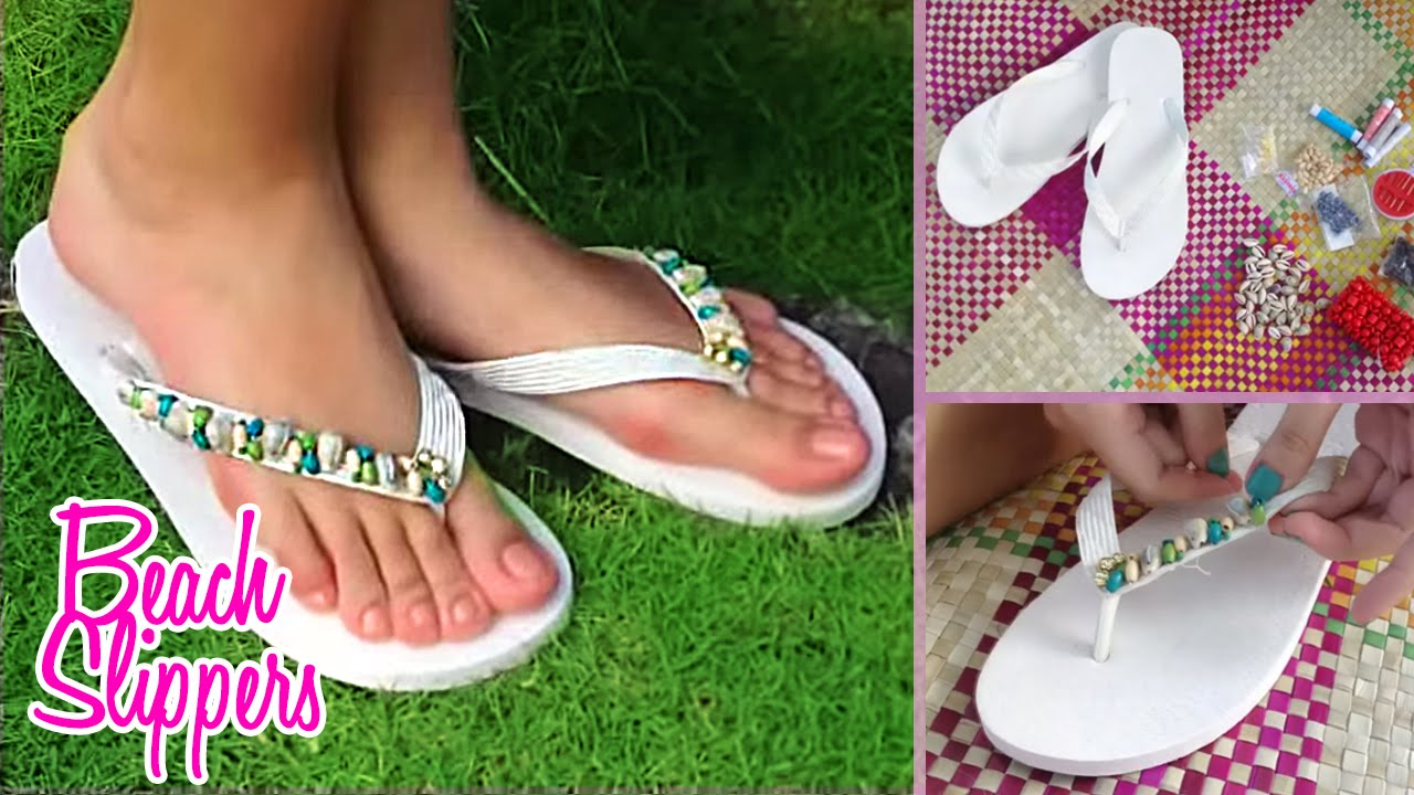 7a077ba38 DIY Beach Slippers - Cute Flip Flop Tutorial - YouTube