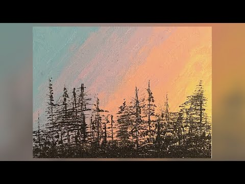 Northern Lights | Easy Abstract Landscape Painting Demo | Satisfying Daily Art Therapy