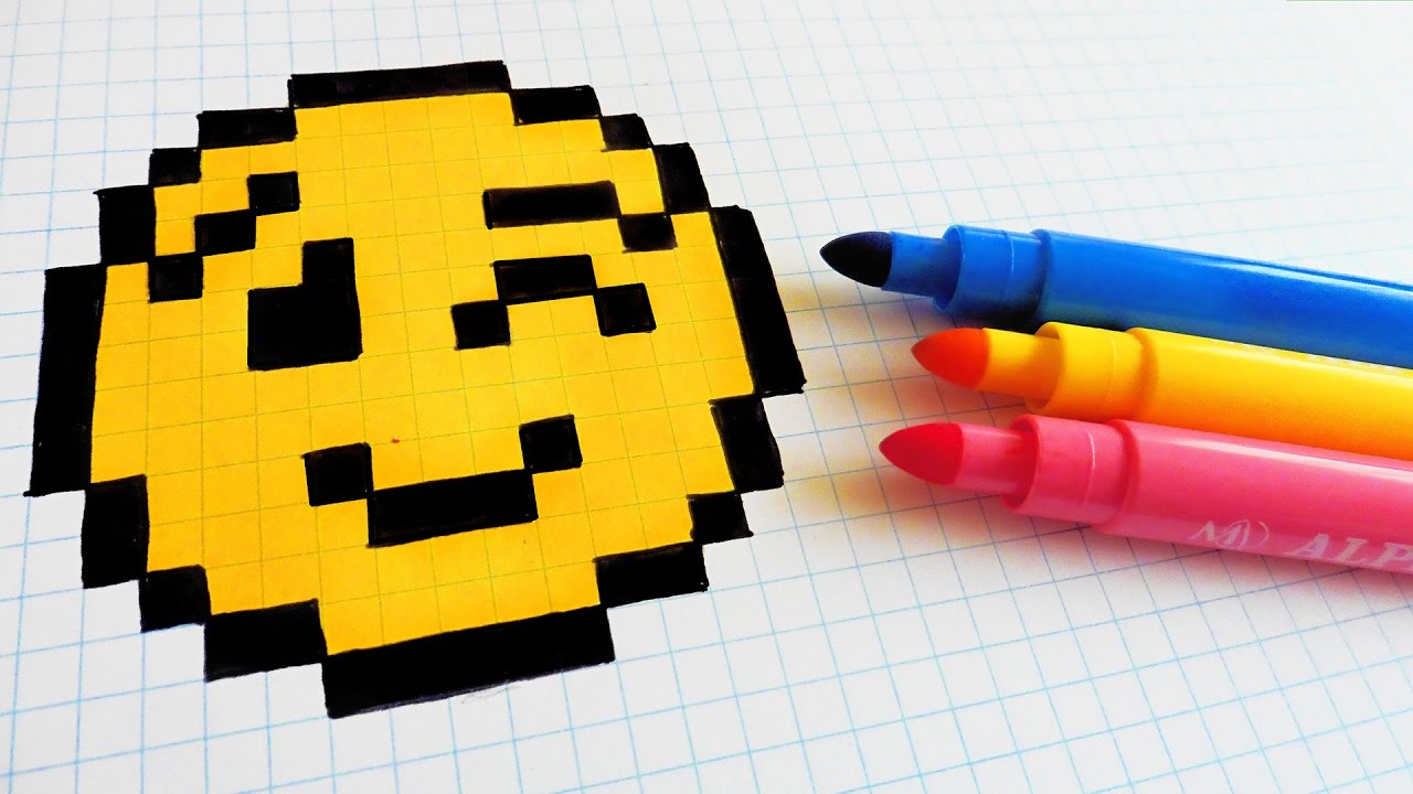 handmade pixel art - how to draw a emoji  pixelart