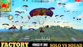 GARENA FREE FIRE FACTORY FIGHT SOLO VS SQUAD - FF FIST FIGHT ON FACTORY ROOF - FACTORY FREE FIRE F F