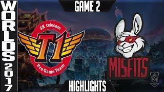 SKT vs MF Highlights Game 2 - Quarterfinal World Championship 2017 SK telecom T1 vs Misfits Worlds