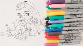 COLORING WITH CRAYOLA MARKERS FRANKIE STEIN FROM MONSTER HIGH