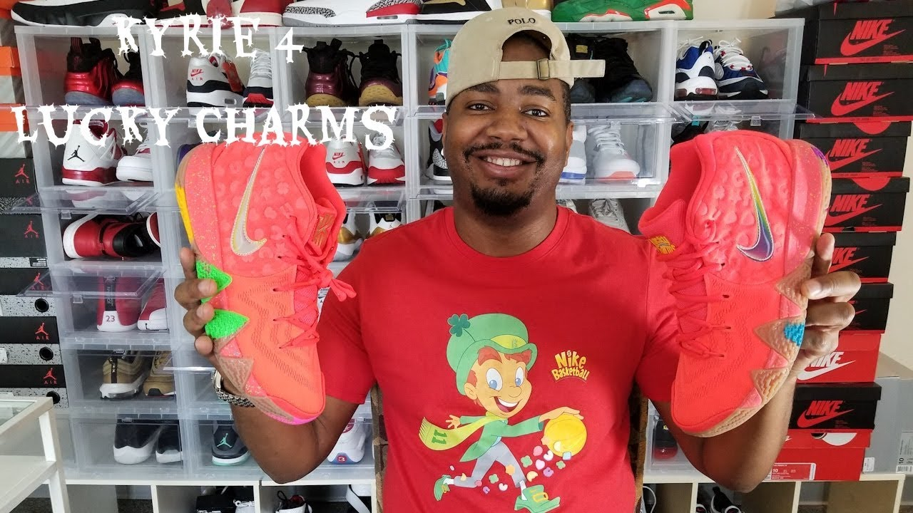 4f970a2d7ff9 Nike Kyrie 4 Lucky Charms Review!!! Cereal Pack - YouTube