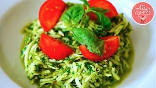 Zucchini Pasta with Basil - Спагетти из цукини с соусом песто