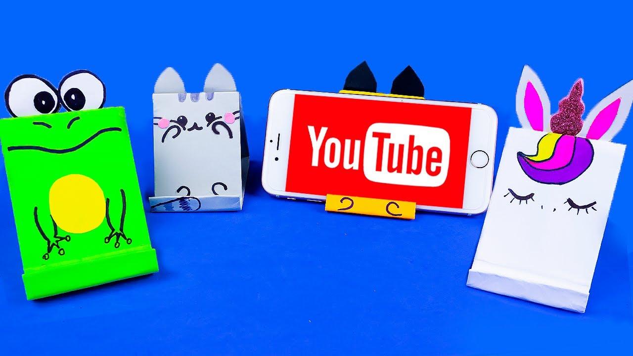Оригами Подставка для Телефона Лиса, Лягушка, Котик Единорог | Easy Origami paper phone stand Animal
