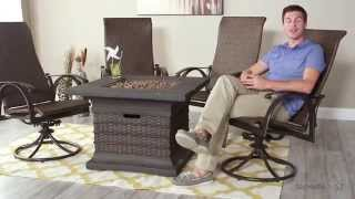 Bellagio Swivel Rocker - Set Of 4 With Bristol Fire Pit Table - Product Review Video