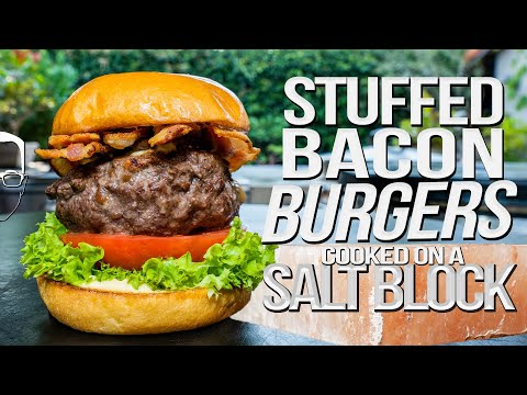 STUFFED CHEESEBURGERS COOKED ON A SALT BLOCK! | SAM THE COOKING GUY 4K