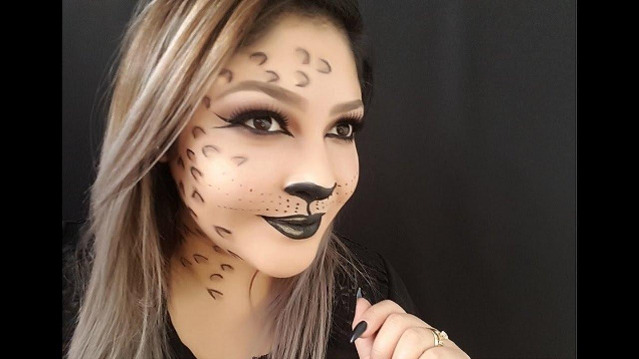 Maquillaje de mujer leopardo para halloween youtube Maquillaje para ninas halloween