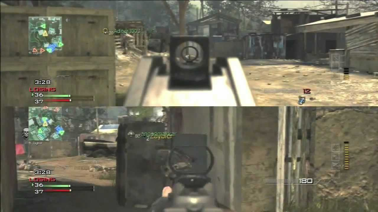 Mw3 Split Screen Multiplayer Fun In Village Ps3 Youtube