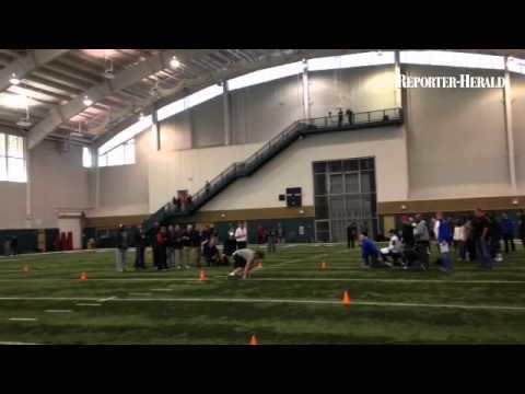 Tackle Ty Sambrailo runs the cones at CSU pro day