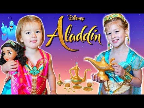Disney Aladdin Movie 2019 New Toys Girls Dress Up Tea Party Playset Jasmine Genie Lamp #Aladdin
