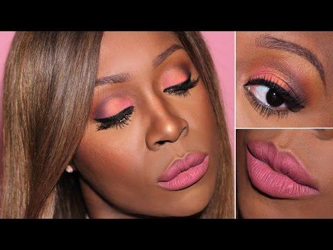 Pink Valentines Day Makeup for Black Women - Pink V-Day Makeup on Dark Skin (Look #1) ♡ - 동영상