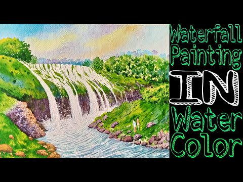 Waterfall Landscape Painting | Easy To Learn Water Colour Painting | Artist : Gangadhar B. Shinde