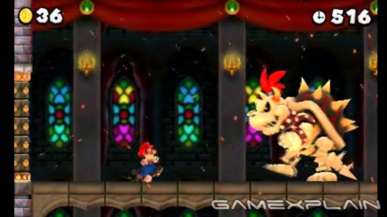 New Super Mario Bros 2 Final Star Level Dry Bowser Boss Battle