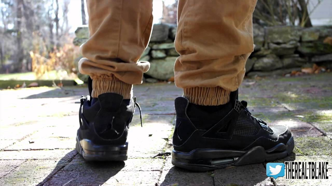 air jordan 4 black cat on feet
