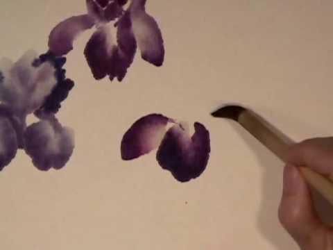 Iris & Rock part 1 - Chinese Brush Painting by Virginia Lloyd-Davies