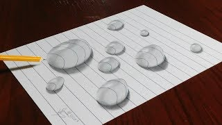 How to Draw Water Drops on Line Paper - Trick Art