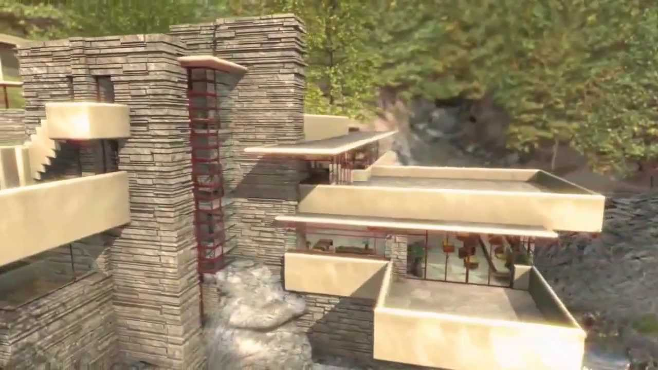 frank lloyd wright fallingwater house over waterfall youtube. Black Bedroom Furniture Sets. Home Design Ideas
