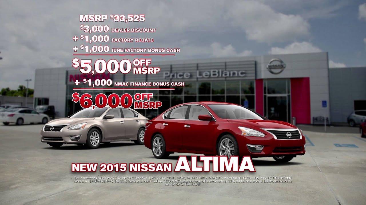 Price LeBlanc Nissan - Trade and Save - Altima Specials ...