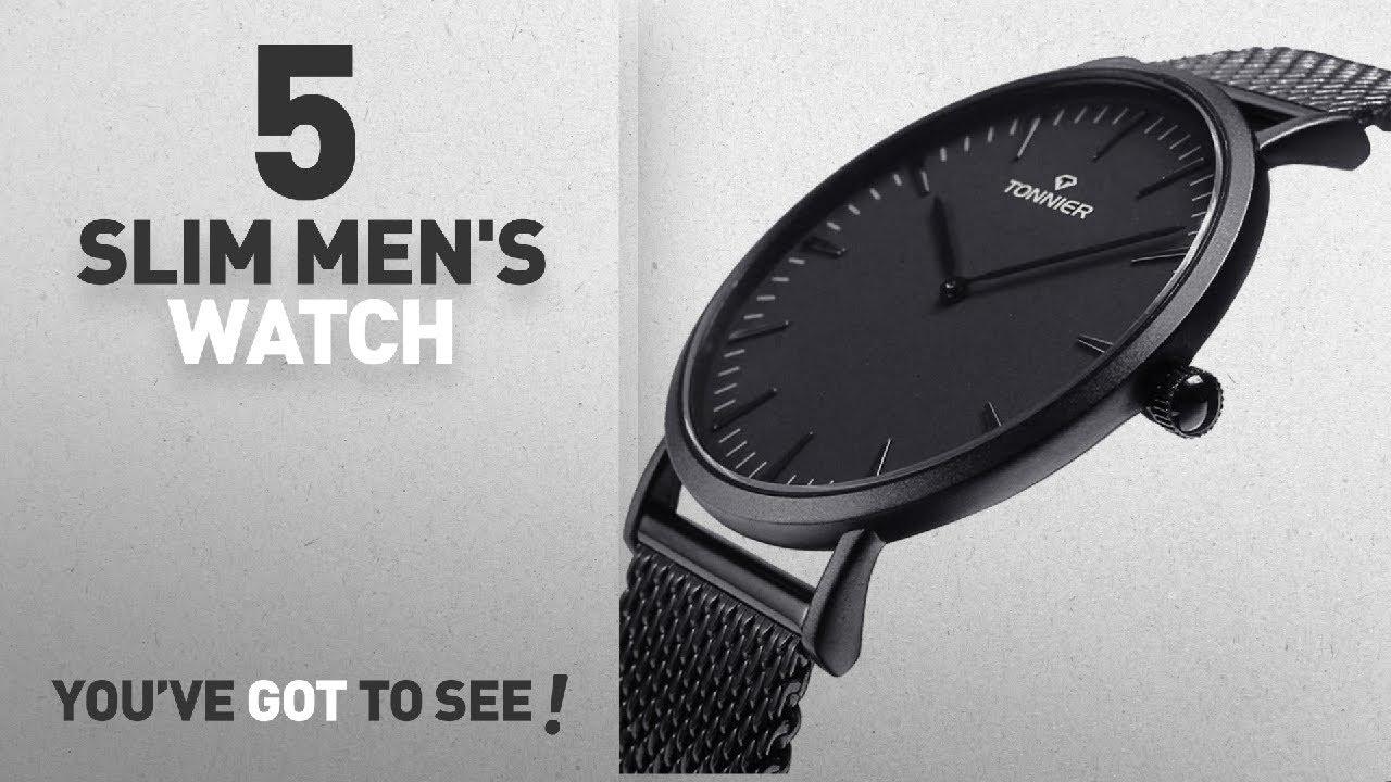 f8e84f1ba9b Top 10 Slim Men s Watch  2018   Tonnier Black Stainless Steel Slim Men Watch  Quartz Watch
