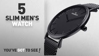 Top 10 Slim Men's Watch [2018]: Tonnier Black Stainless Steel Slim Men Watch Quartz Watch