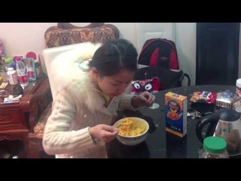 My Chinese Wife Eating Mac n Cheese for the first time