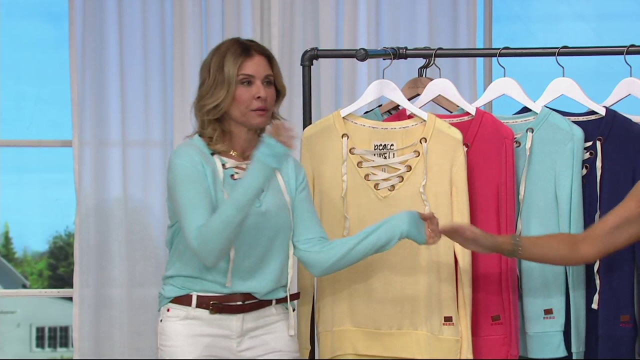 Peace Love World Comfy Knit Lace Up V Neck Top On Qvc
