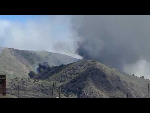 Incendio en el Complejo Medioambiental del El Majano, en la isla del Hierro.