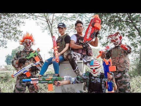 NERF WAR : SWAT Warriors Nerf Guns Fight Bad Man Mask