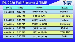 IPL t20 2020 Full Schedule & Time Table | New Time Table | IPL season 13