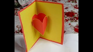 How to Make a Cute Homemade Pop Up Valentine's Card- very easy by rihan rini