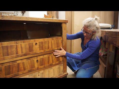 Antikmöbel: Altes Furnier ausbessern (Kommode restaurieren 2)