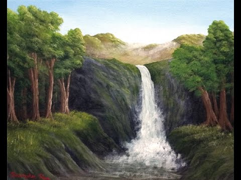 Full Acrylic Painting Tutorial - Cliff Side Waterfall Landscape