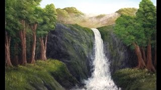 Acrylic Painting Tutorial - Cliff Side Waterfall Landscape