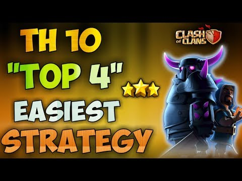 """""""TOP 4"""" BEST TH10 EASIEST 3 STARS ATTACK STRATEGY   CLASH OF CLANS"""