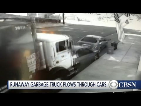 Garbage truck rams into parked cars in Pennsylvania