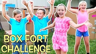 BOX FORT CHALLENGE! Girls VS Boys! Teams Race to Build the Best Box Fort!