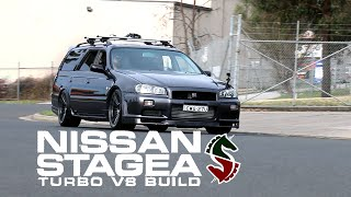 nissan stagea double unicorn build turbo v8 manual awd episode 1