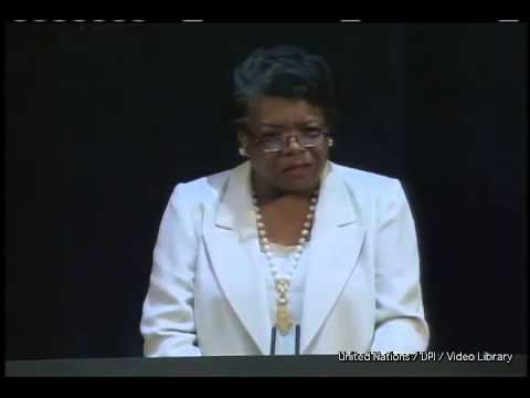 "Maya Angelou reading her poem ""A Brave and Startling Truth"""
