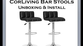 Corliving Bar Stools Low Back, Adjustable & Leatherette B-607-upd