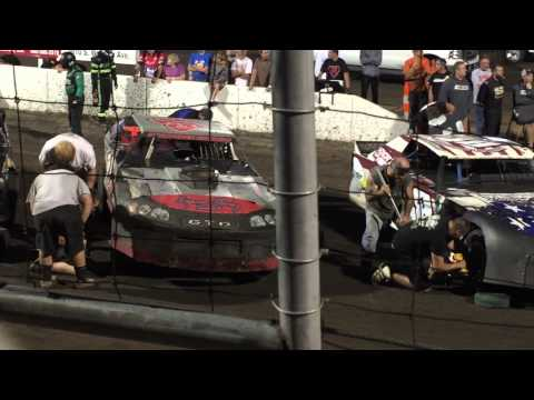 Huset's Speedway late model street stocks Pit Crew Challenge night 9-6-15