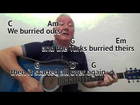 And The Band Played Waltzing Matilda - Liam Clancy cover - guitar lesson on-screen chords and lyrics