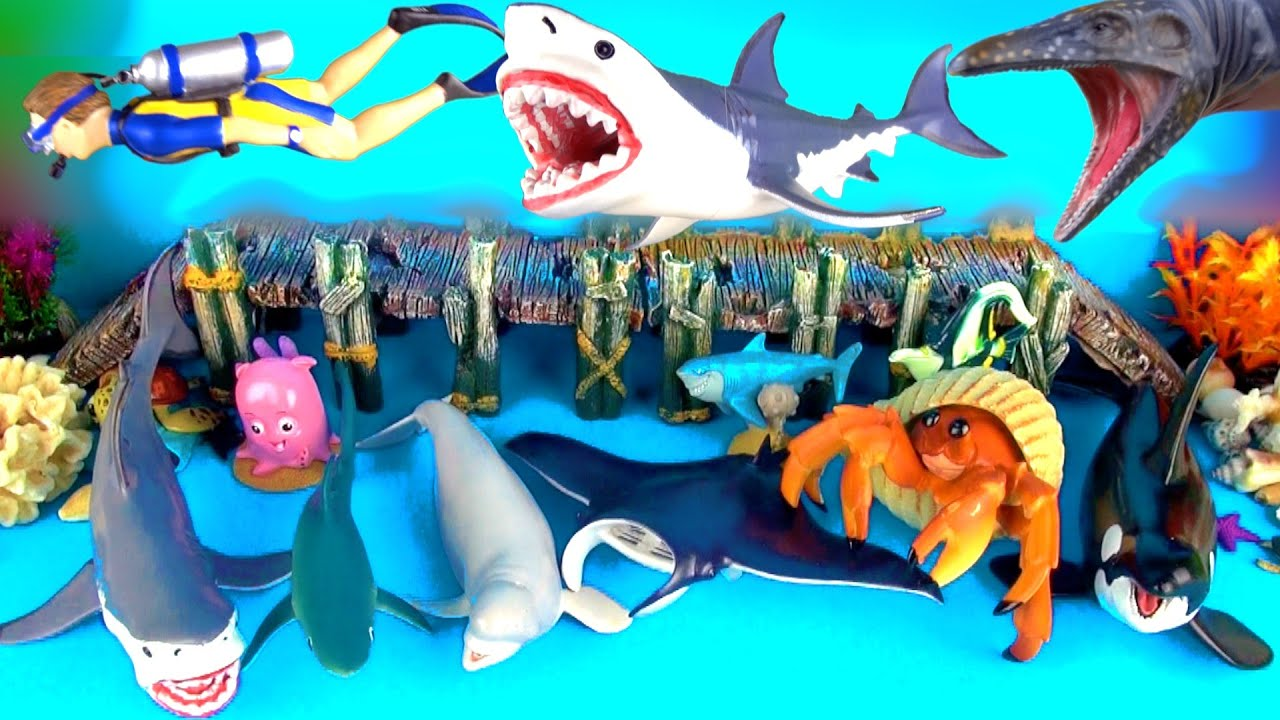 Shark Toys Collection Orca Whales Fish Toys for Kids Fun Ending ...