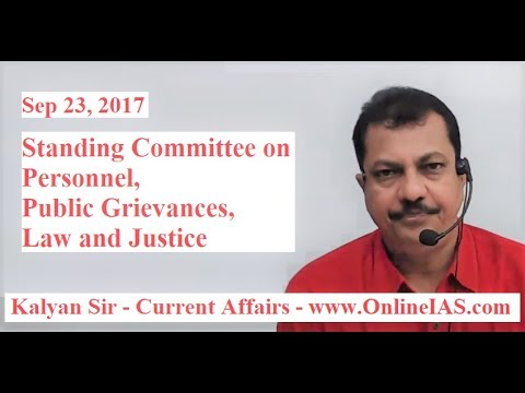 Standing Committee on Personnel, Public Grievances, Law and Justice - OnlineIAS.com