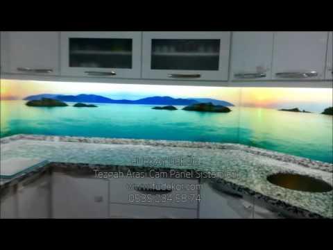 cam mutfak   3 boyutlu tezgah arasi cam panel