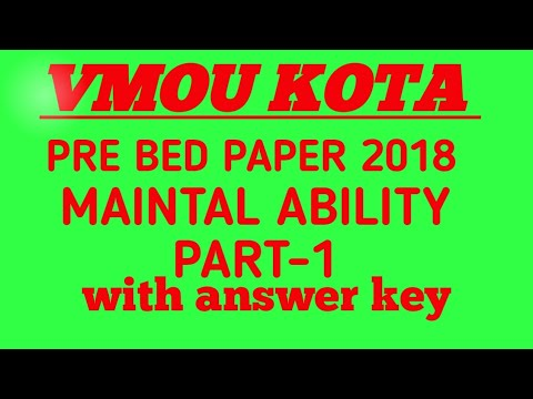 pre bed paper/vmou kota pre bed mental ability question paper/vmou pre bed part one/reasoning paper